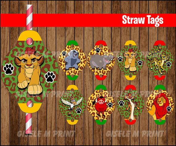 Lion Guard Straw Tags Printable Lion Guard Straw by