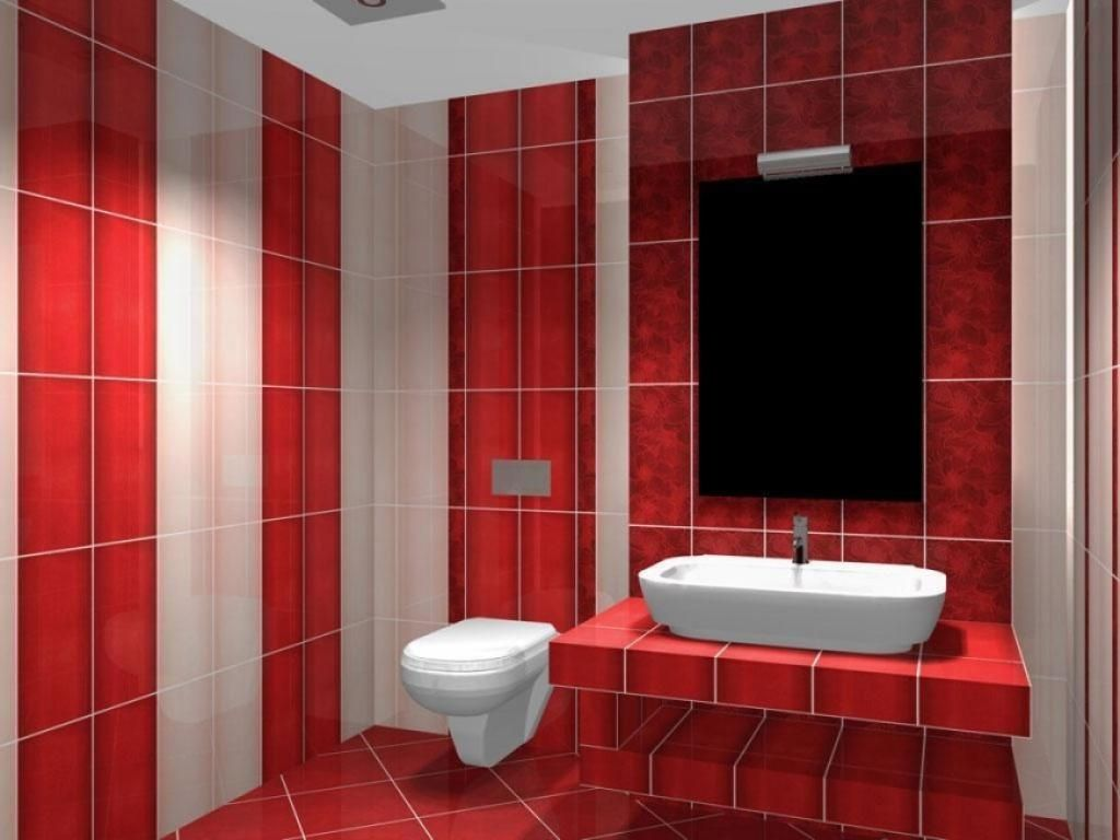 Red White Tiles Combination Bathroom