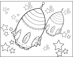 Rocketships With Space Pods Coloring Page Space Coloring Pages Coloring Pages Doodle Art Posters
