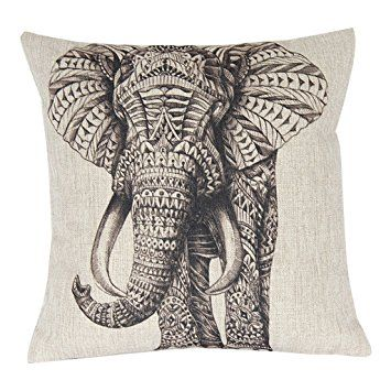 Funda cojín con elefante en negro | Elefantes | Pinterest | Fundas ...