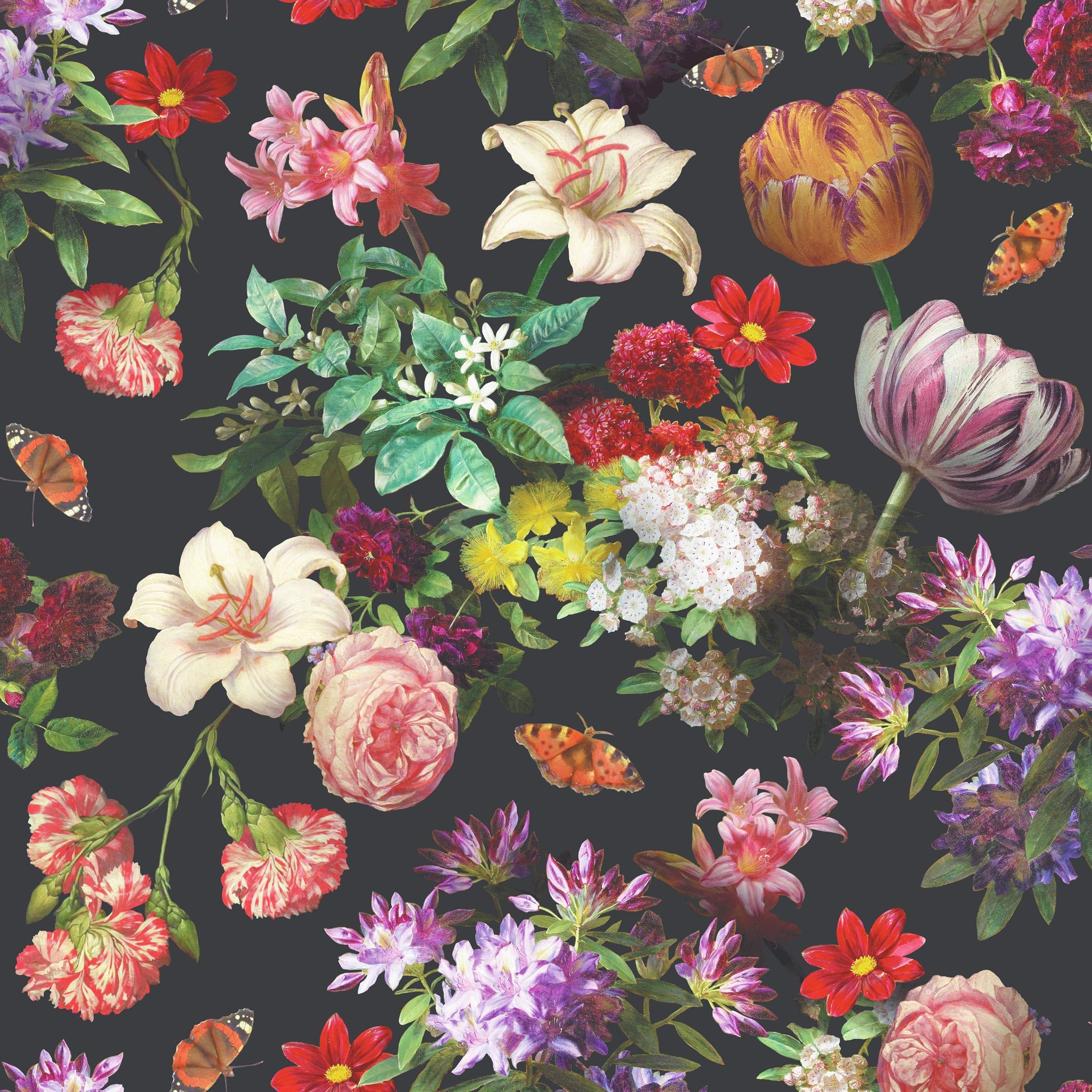 Brigitte Black Floral Wallpaper Departments DIY at B&Q