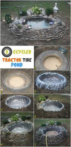 Recycled tractor tire pond jardinage pinterest for Teich aus traktorreifen