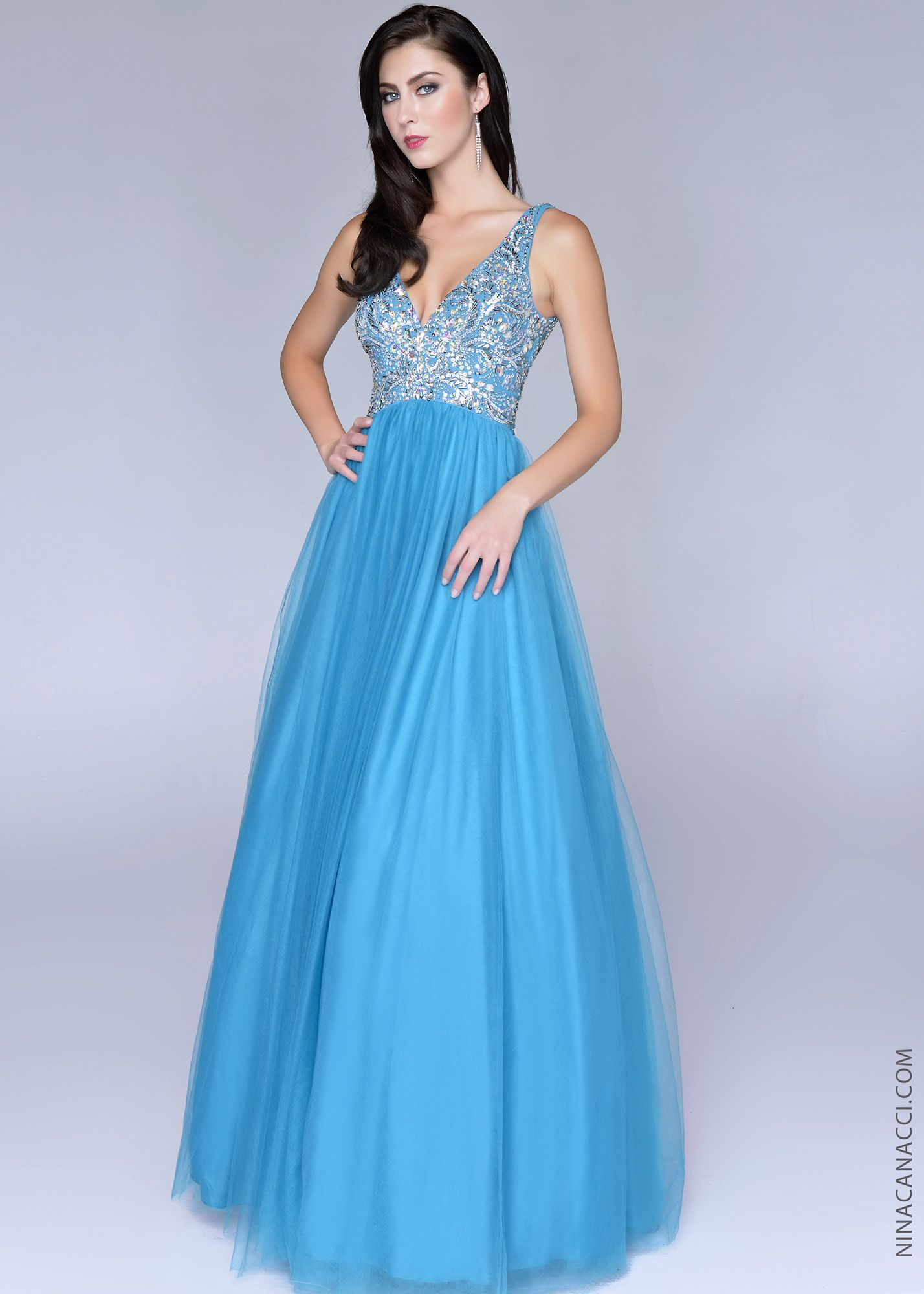Nina Canacci 8006 -Teal Beaded Ball Gowns Prom Dresses Online ...