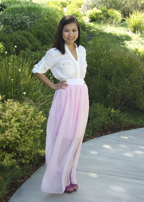 94ceaf0754 Yarns and Buttons: DIY Long Sheer Maxi Skirt (Tutorial)   Sewing ...