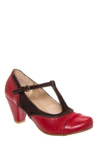 18ccef1d27e6c Amazon.com: Chelsea Crew Mango Low Heel T-Strap Mary Jane Shoe - Red ...