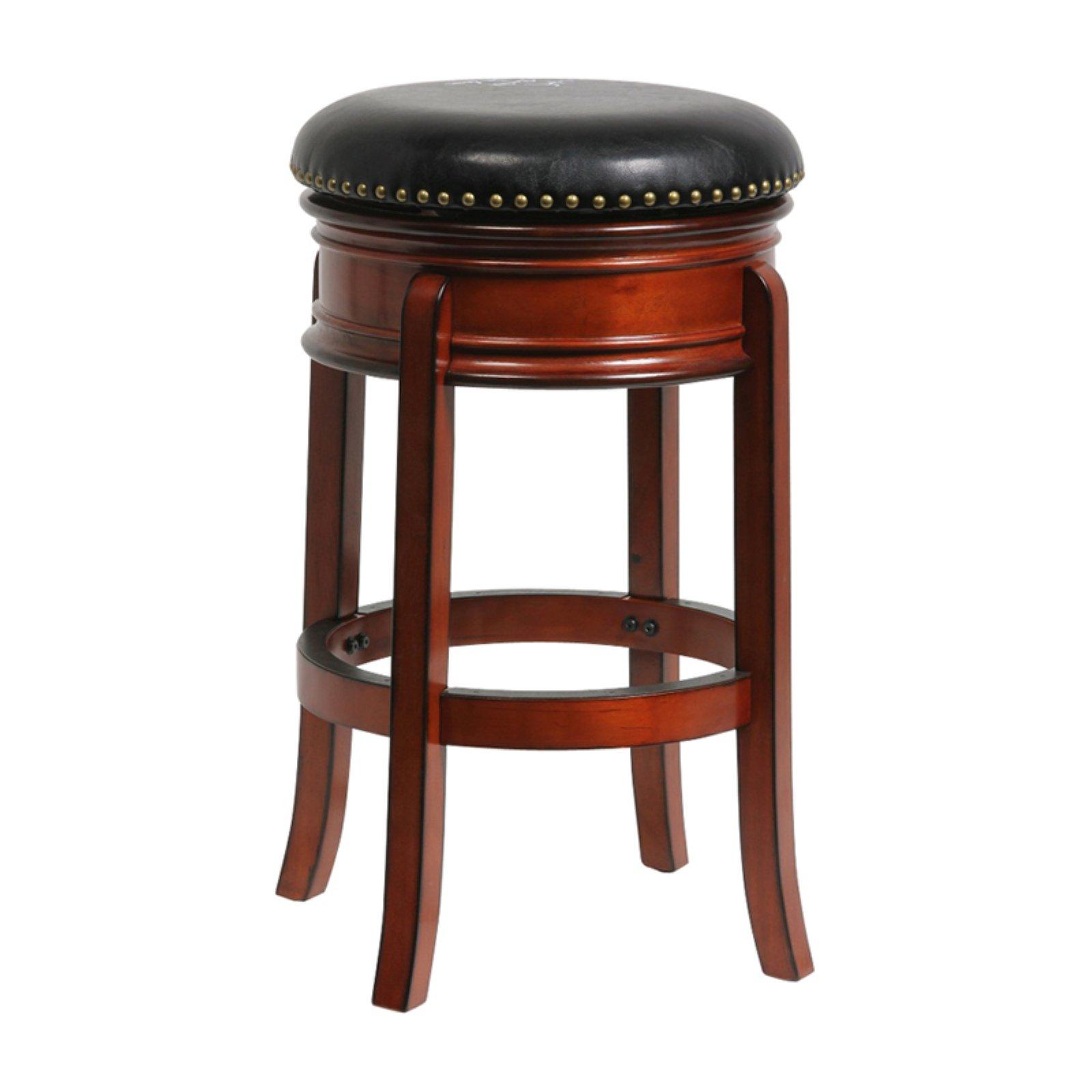 Boraam Hamilton 29 In Leather Swivel Backless Bar Stool Brandy