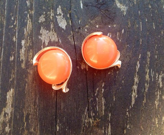 Vintage Orange And Gold Clip On Earrings on Etsy, $6.00