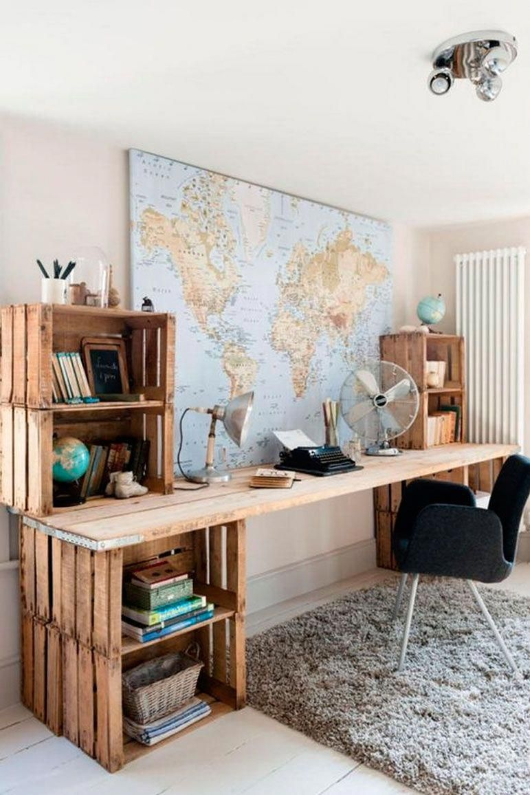 Décoration De Bureau Originale world traveler wooden work desk pallet furniture