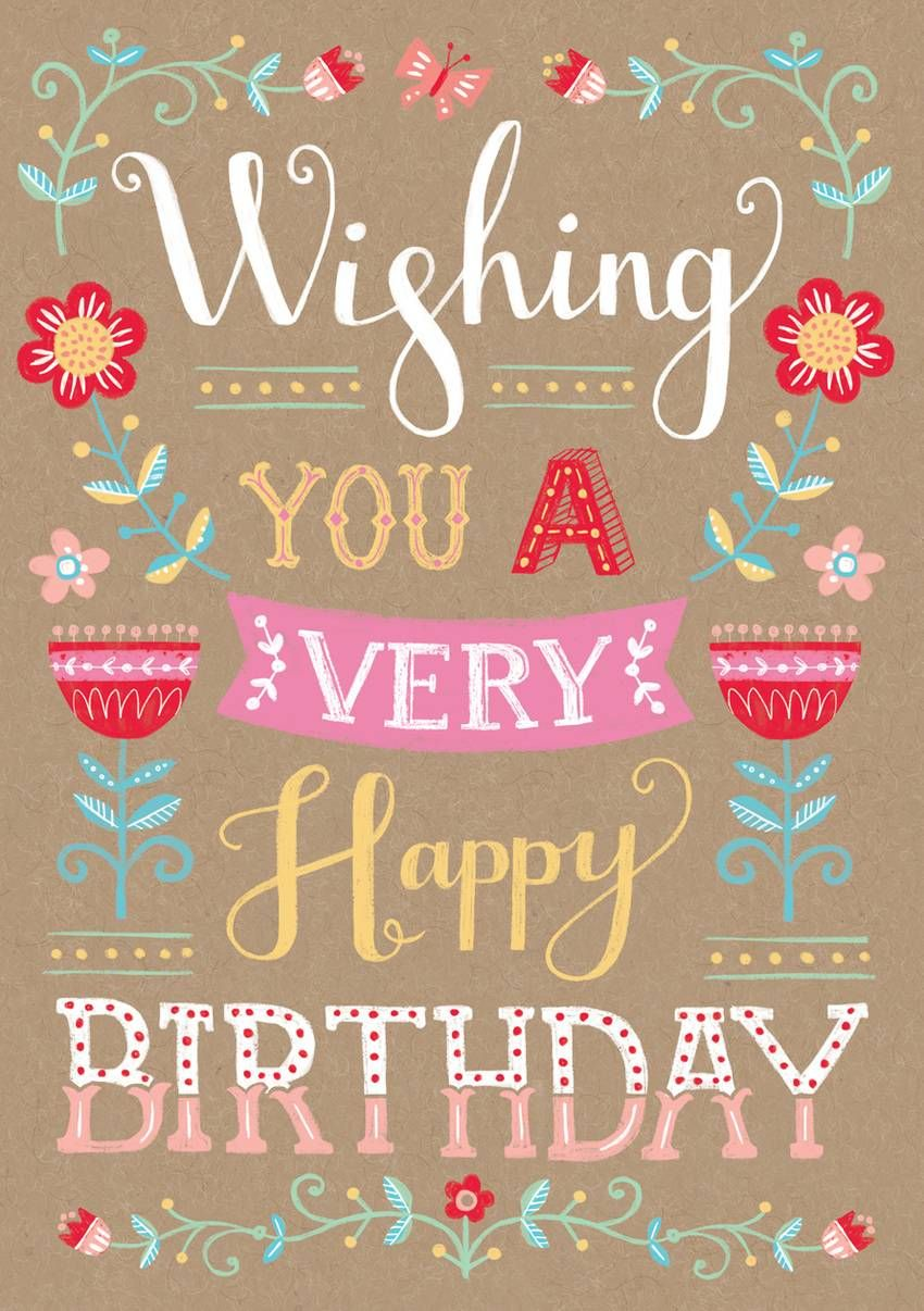 Louise Anglicas Wishing You A Very Happy Birthday Typography Jpg