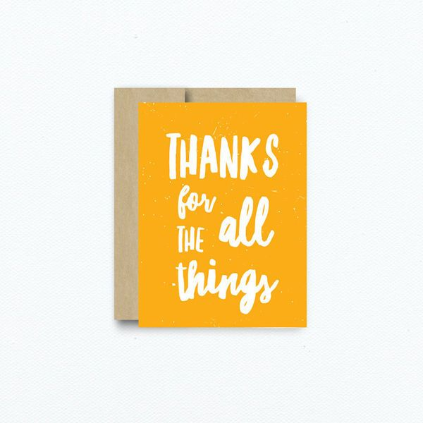 Thank your wedding party for all the things with this sweet yellow thank you card.