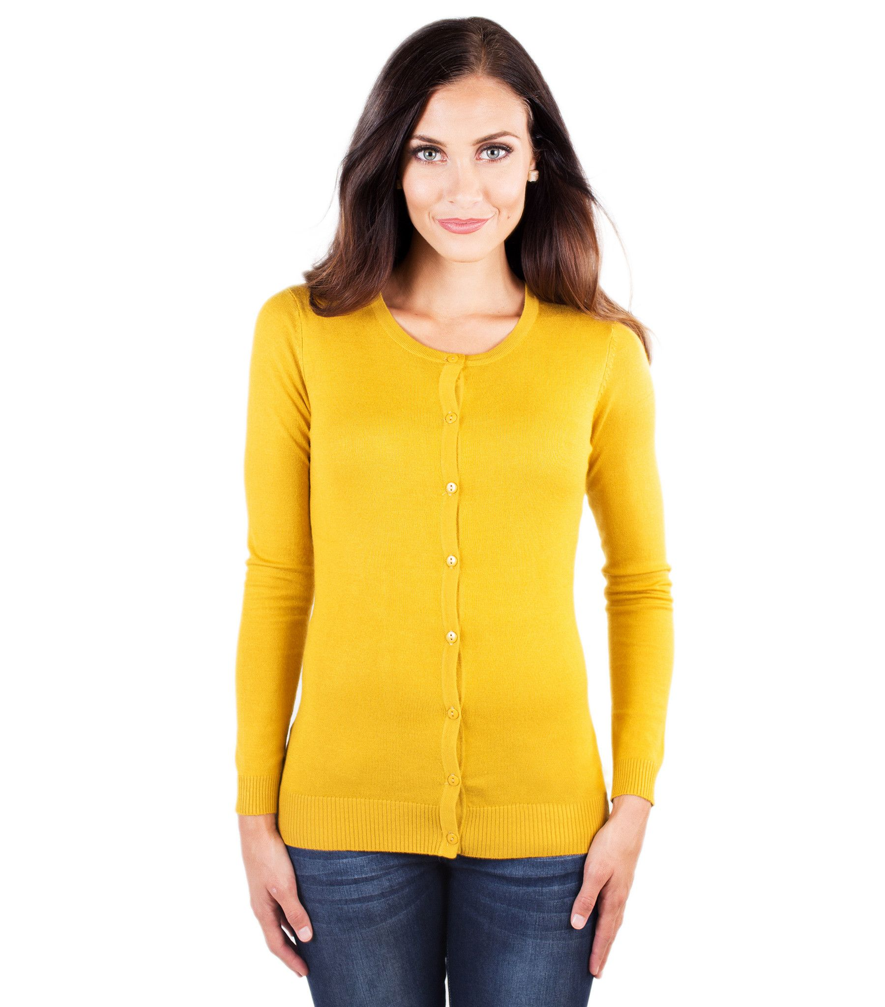 Mustard color crewneck cardigan Fashion, Tops, Style