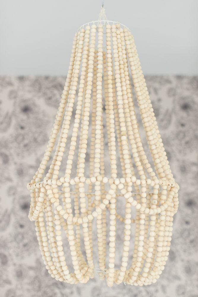 Lustre wow en perles en bois wood bead chandelier beaded diy wood bead chandelier aloadofball Gallery