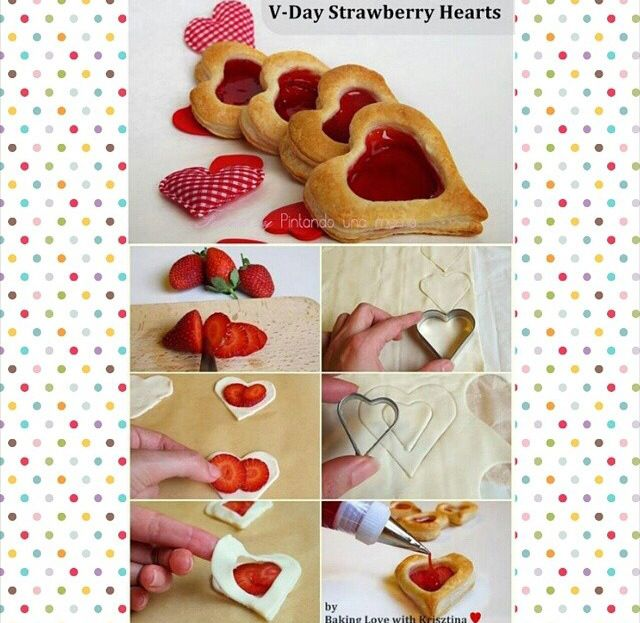 Perfect To Gift On Valentine S Day Strawberry Hearts Pastry Recipes Puff Pastry Recipes