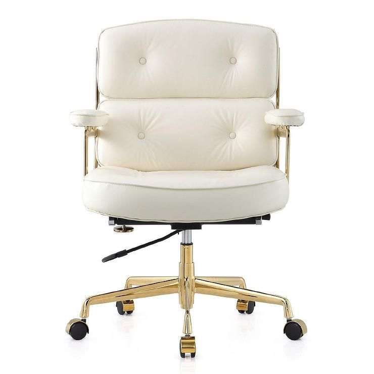 Seating Seal The Deal In An Office Chair That Works Just As Hard As You Crafted From Supple Aniline L Chic Office Chair White Office Chair Gold Office Chair