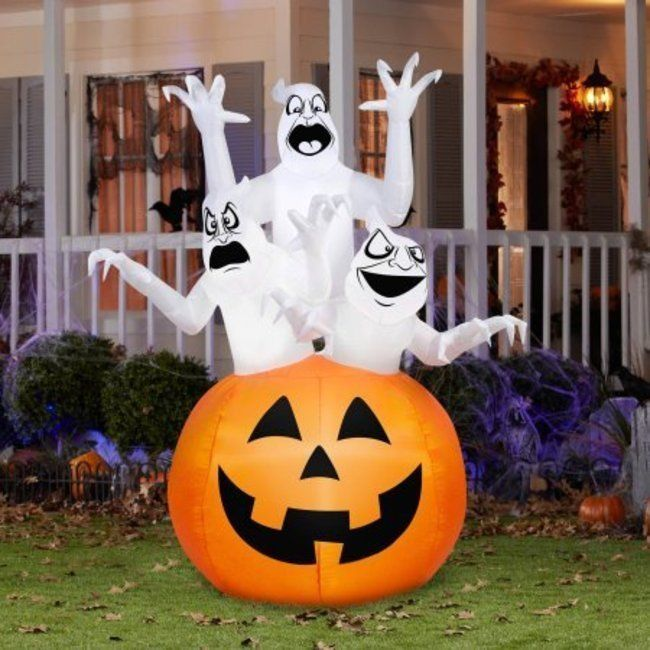 blow up lawn ghosts pumpkin halloween decorations lit scary inflatable yard new