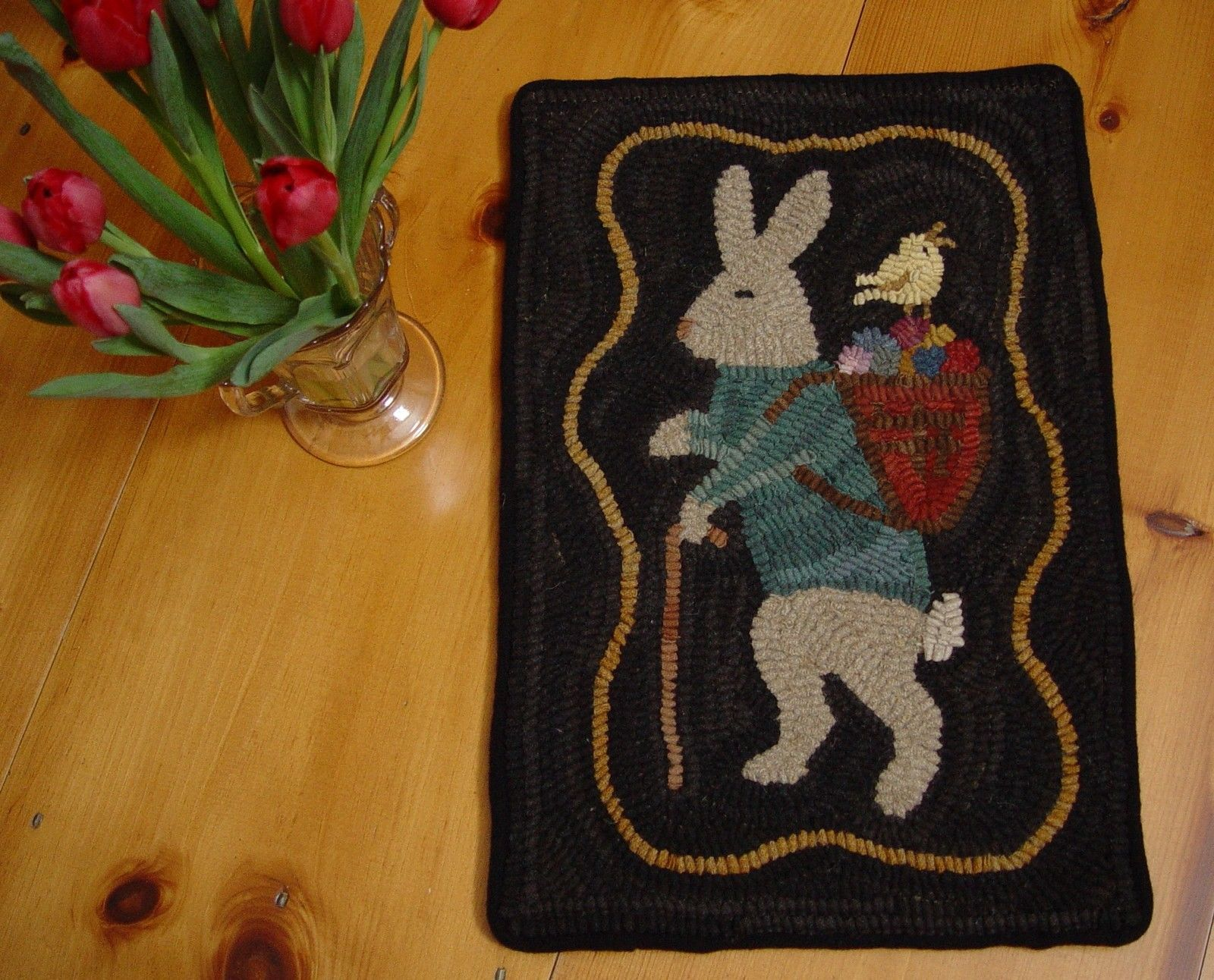 Details about Primitive Hand Hooked Rug Rabbit and Peep Easter Bunny Wool  Rug Hooking