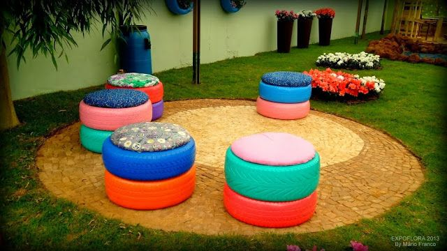 used tyres as garden stools meu cantinho verde mais - Garden Ideas Using Tyres