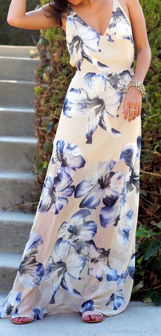 Beige floral maxi dress