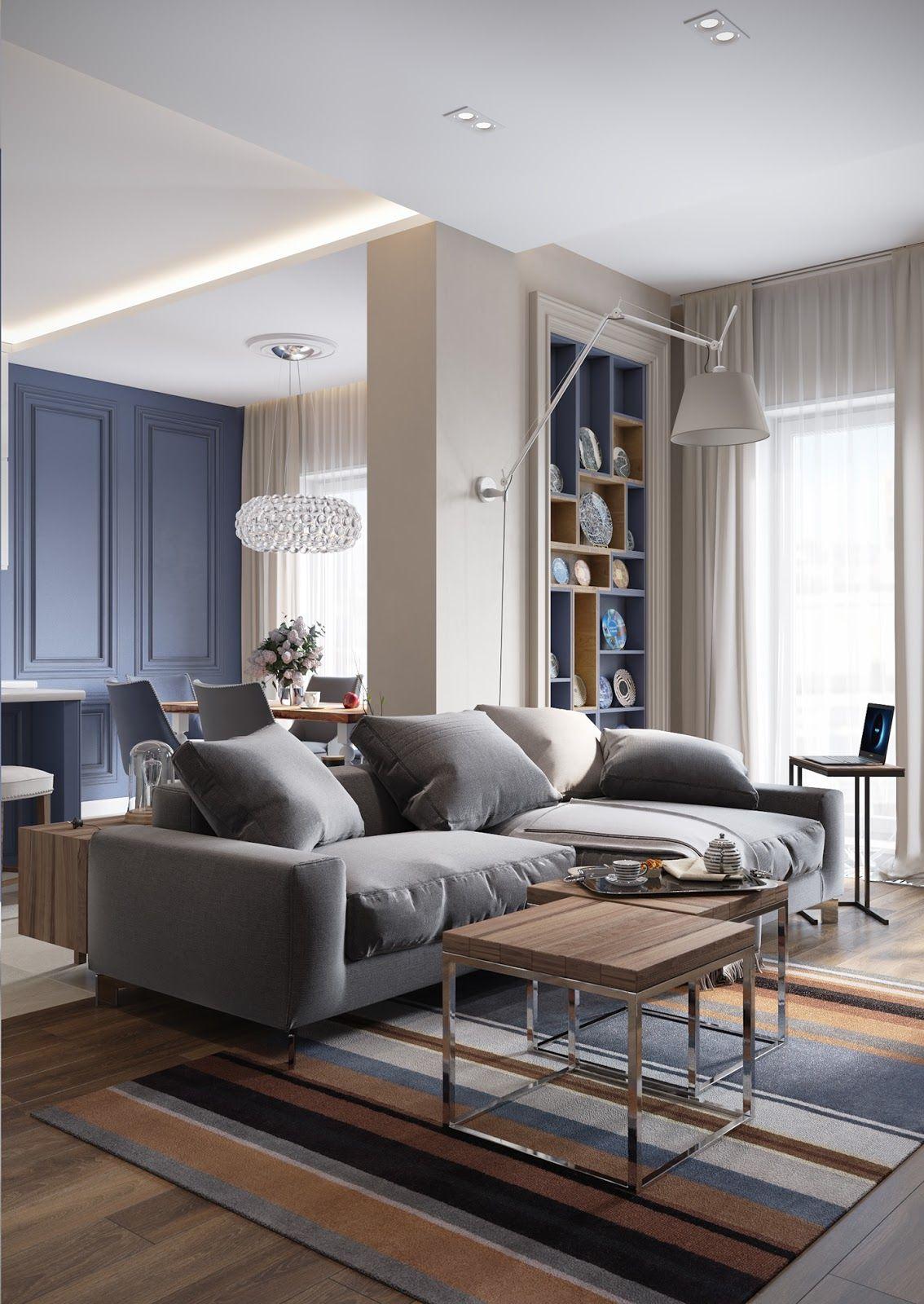 Eleganță în albastru și gri într-un apartament din Sankt ...