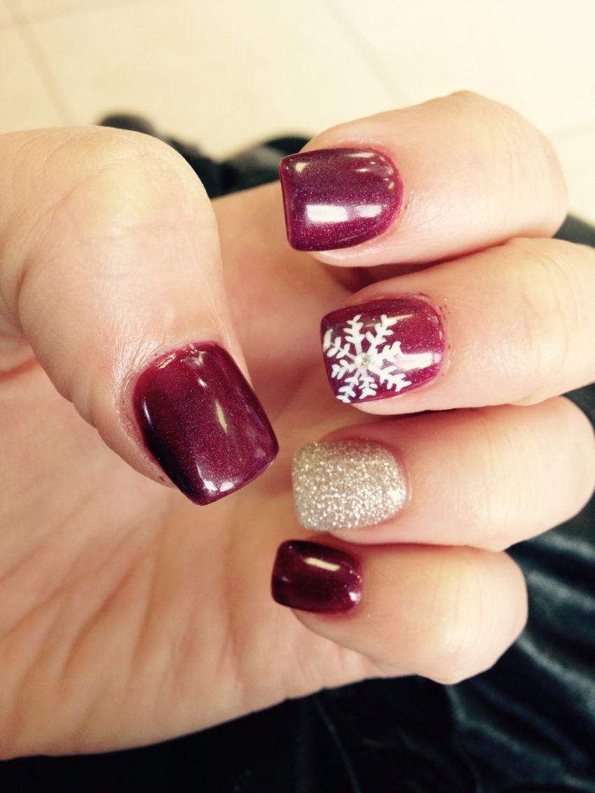 Snowflake Maroon Christmas Nails Maroon Nails Christmas Nails Nail Designs