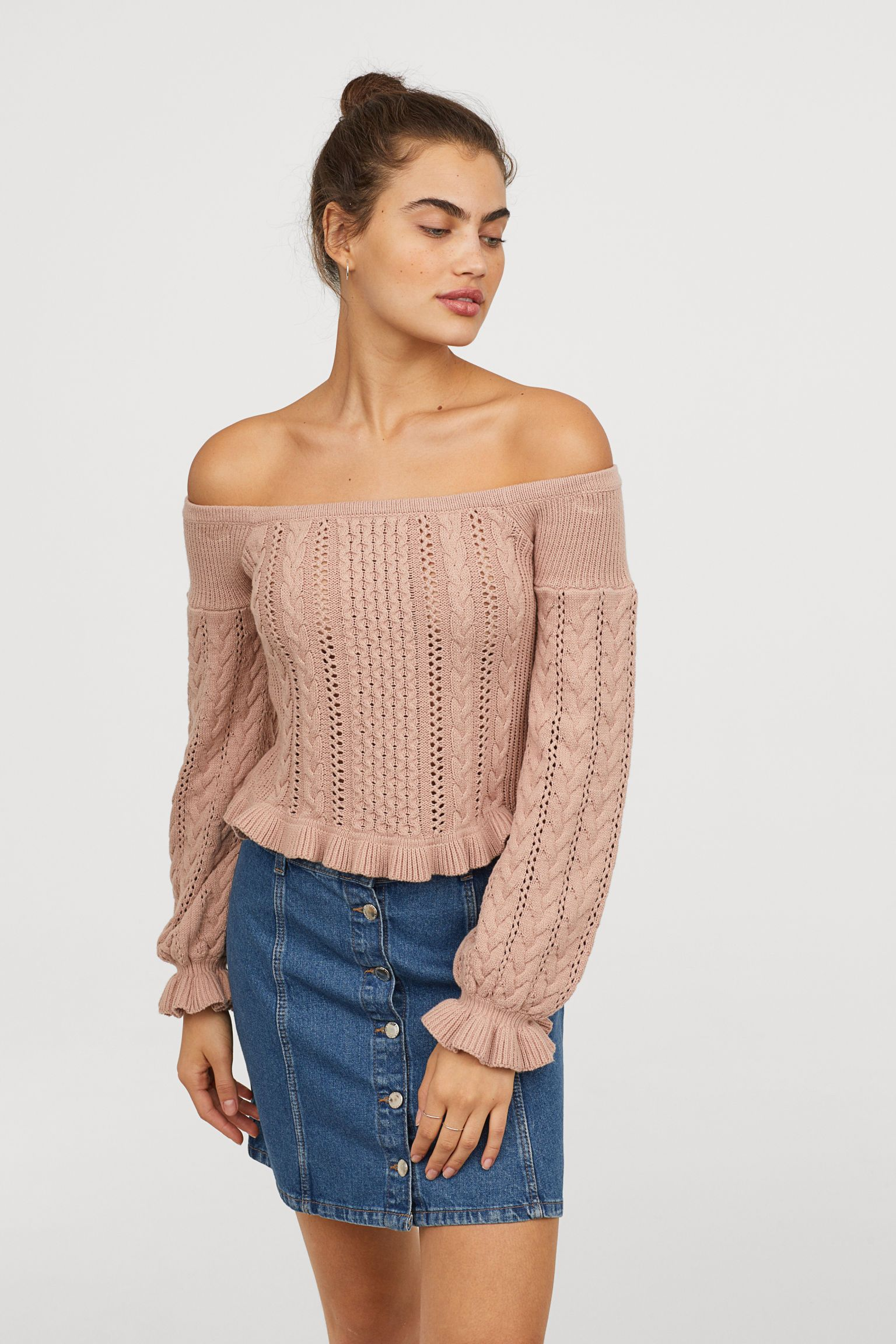 efc7482482bf Off-the-shoulder Sweater - Dusty rose - Ladies