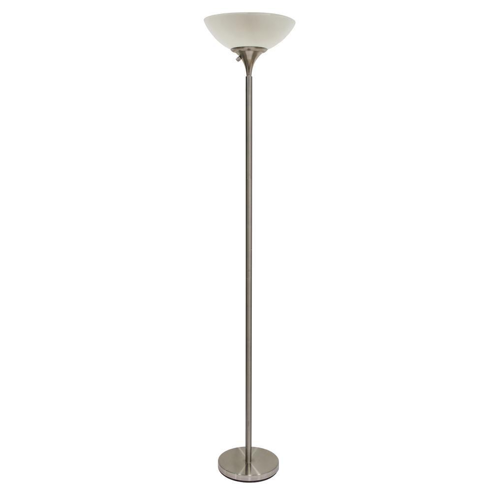 Hampton Bay Title 20 70 5 In Height 300 Watt Floor Lamp Satin Hw