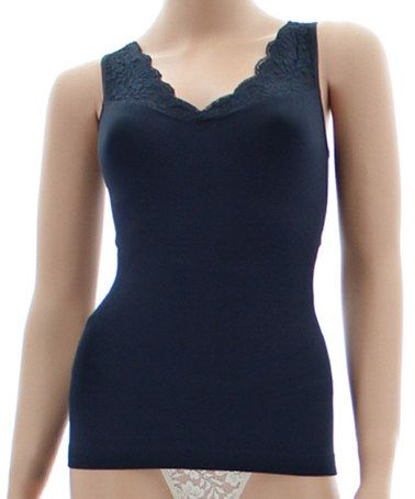 Look what I found on #zulily! Black Lace Shaper Tank - Women #zulilyfinds