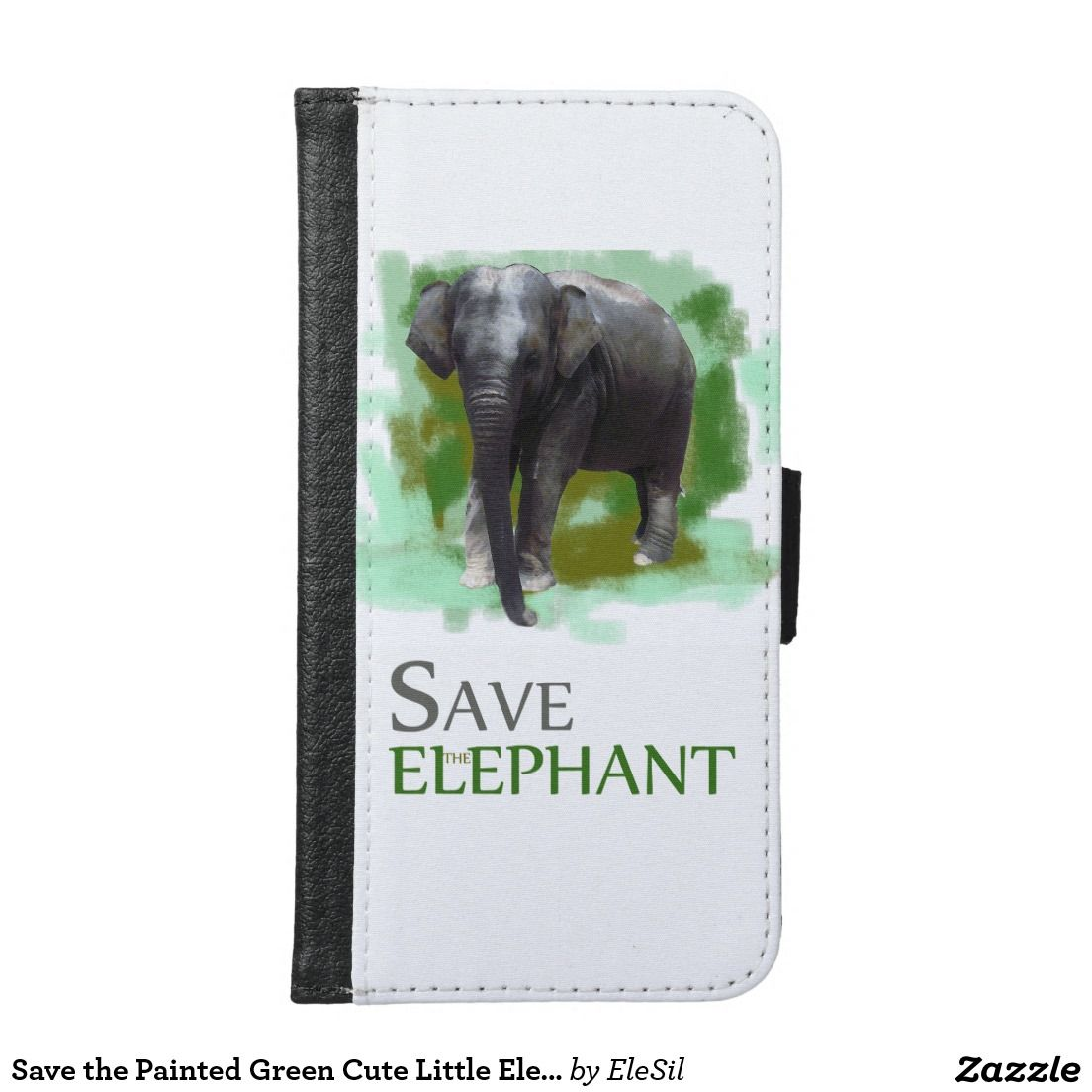 Save the Painted Green Cute Little Elephant