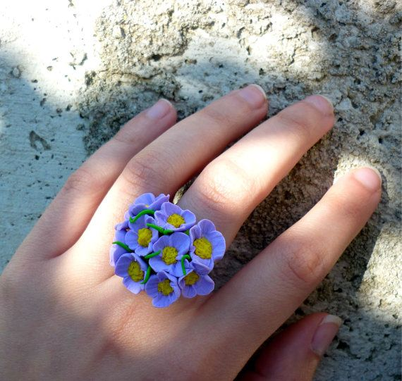 purple flower ringpurple flower jewelry clay by jewelryfoodclay