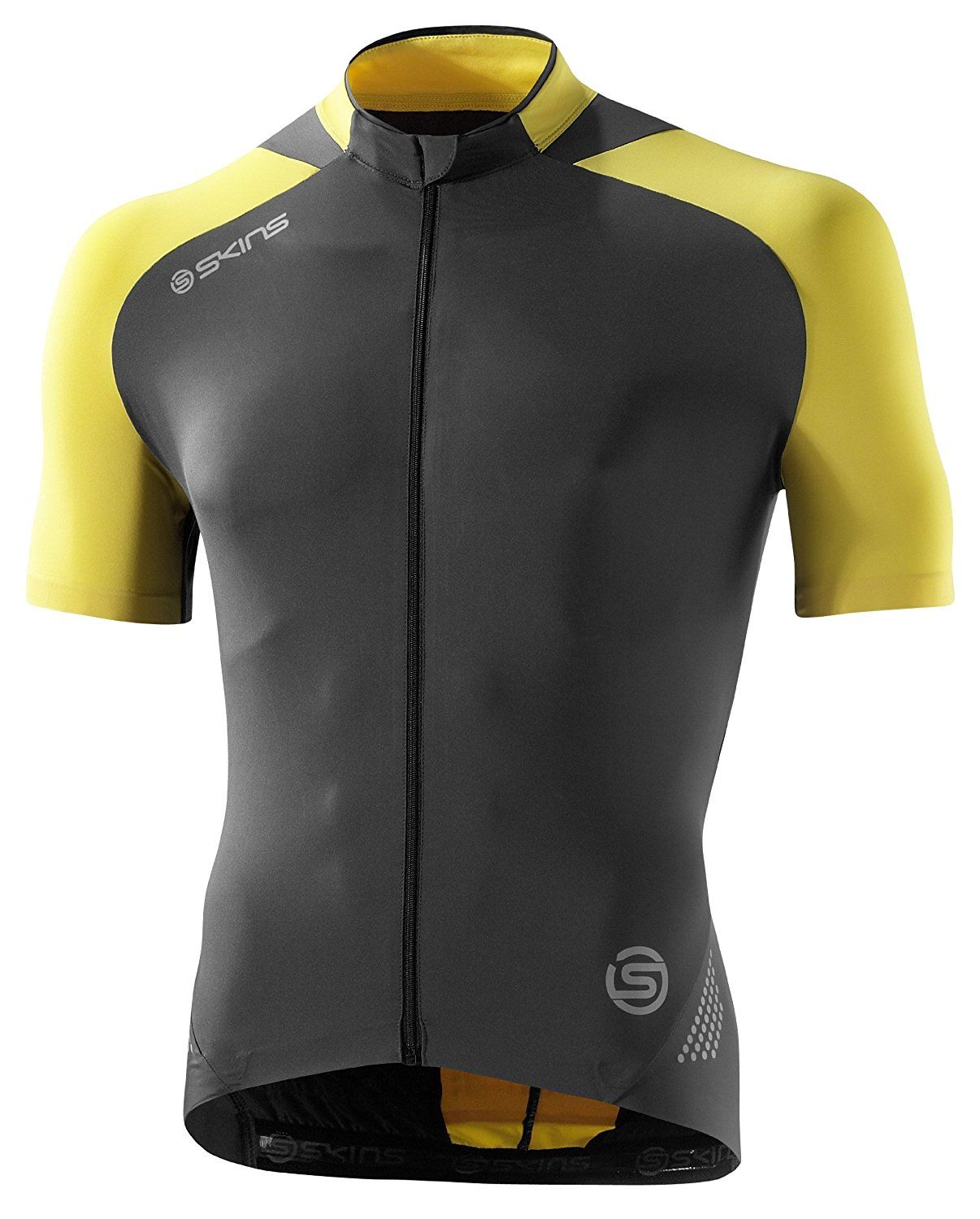 b1f5923ac Skins C400 Men s Compression Short Sleeve Cycling Jersey Small Yellow Gray  -- Want to know more