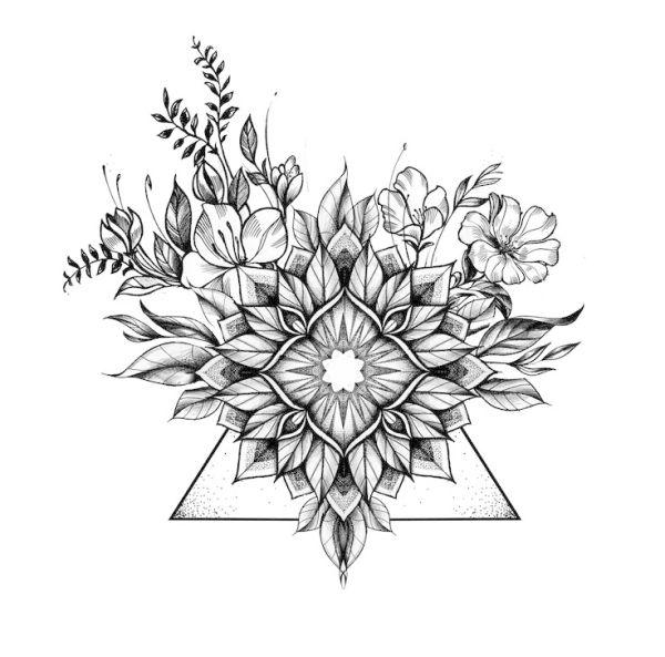 Floral Geometric Tattoo Floral Mandala Tattoo Geometric Mandala Tattoo Floral Tattoo