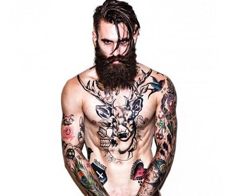 Chest and Arm Tattoos
