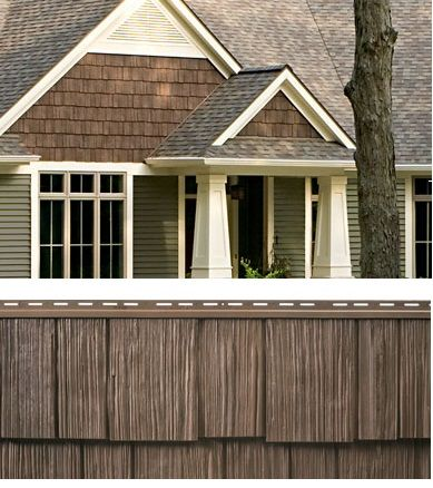 Dark Brown Cedar Vinyl Siding