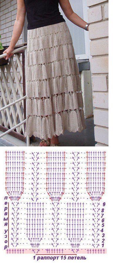 Saia de Crochê com Gráfico: Passo a passo   patrones   Pinterest ...