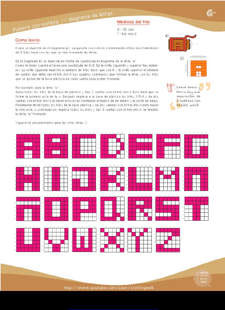 Pulsera Con Nombre - Diagrama de Letras | Do it yourself ...