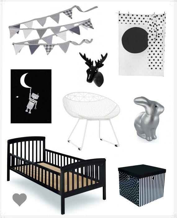 black & grey kids room style