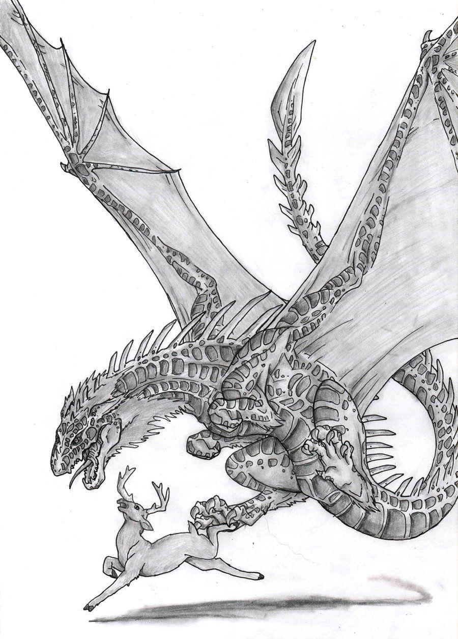Dragon vs deer by oogreenballoonoo dragons