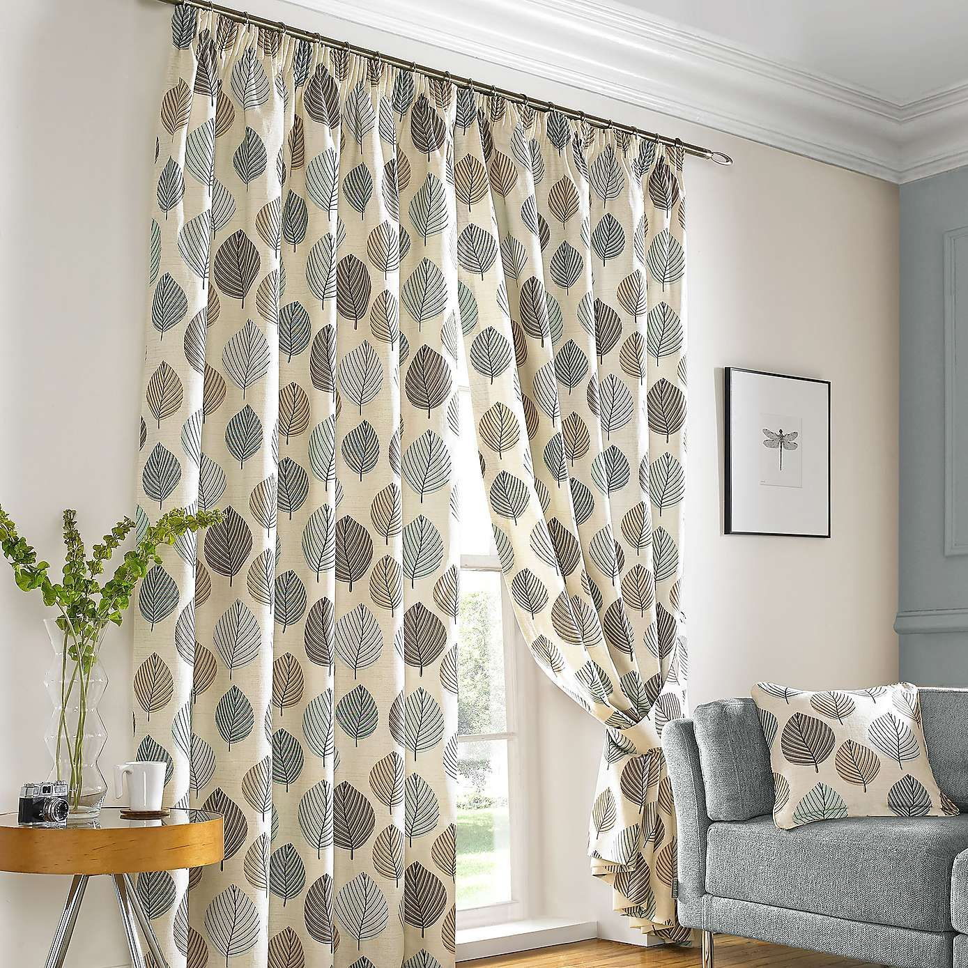 Duck Egg Regan Lined Pencil Pleat Curtains For Dining Room