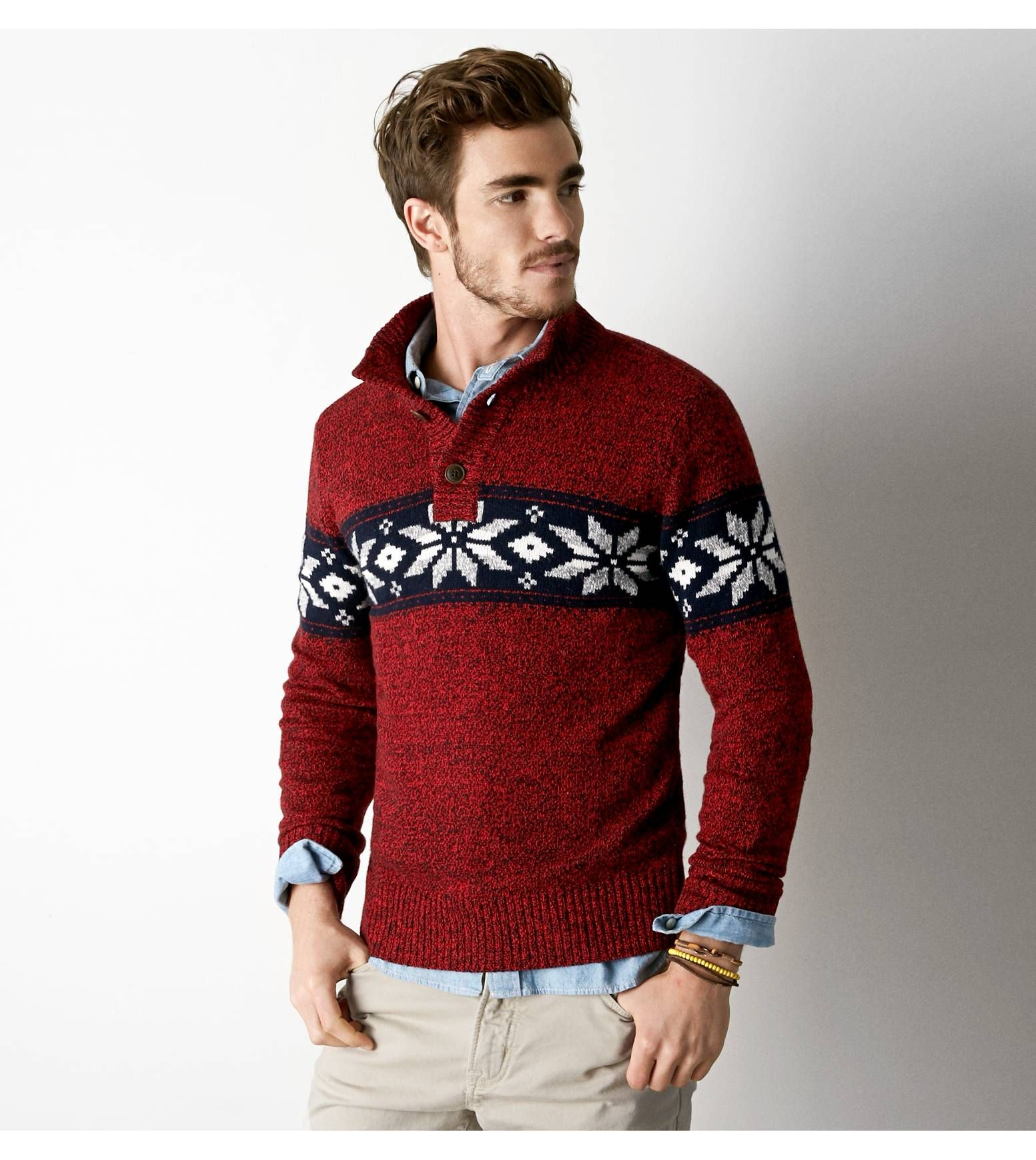 Varsity Red AEO Marled Fair Isle Mock Neck Sweater. Show us your ...
