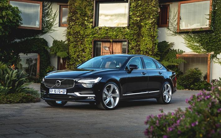 Lataa kuva Volvo S90, 2017, Musta S90, Luxury sedan, business-luokassa, Ruotsin autot, Volvo