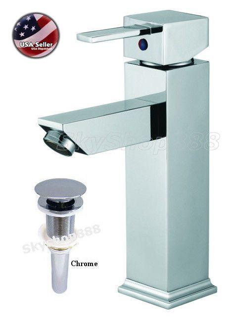 Euro Style Square Style Chrome Bath Bathroom Sink Basin Tap Faucet Drain Mixer