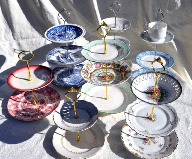 tiered cakes stands from old plates. like the concept. could also use tiny plates & tiered cakes stands from old plates. like the concept. could also ...