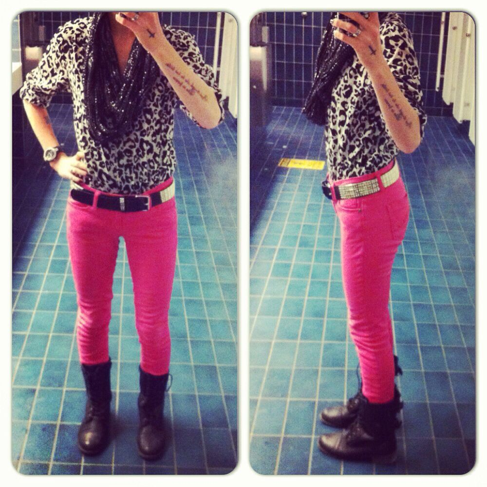 Leopard blouse, scarf, pink skinnies, boots