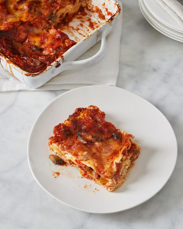 Mushroom-Eggplant Lasagna | In this no-boil vegetarian lasagna silky eggplant and umami-rich cremini mushrooms take the place of meat and serve as delicious foils for three kinds of cheese. Click here for the recipe.