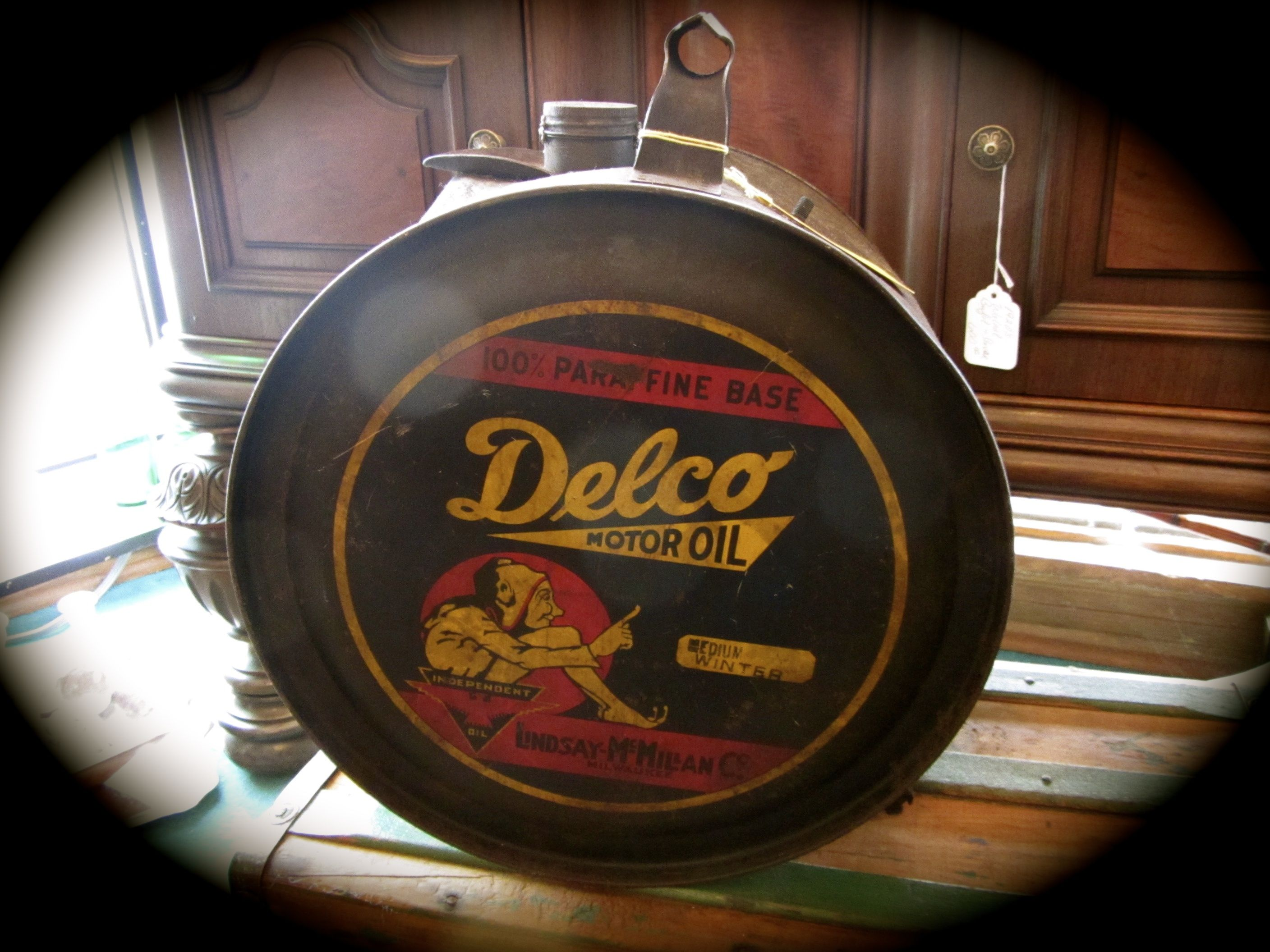 Antique Delco Motor Oil Can Rocker Style Can 800 00