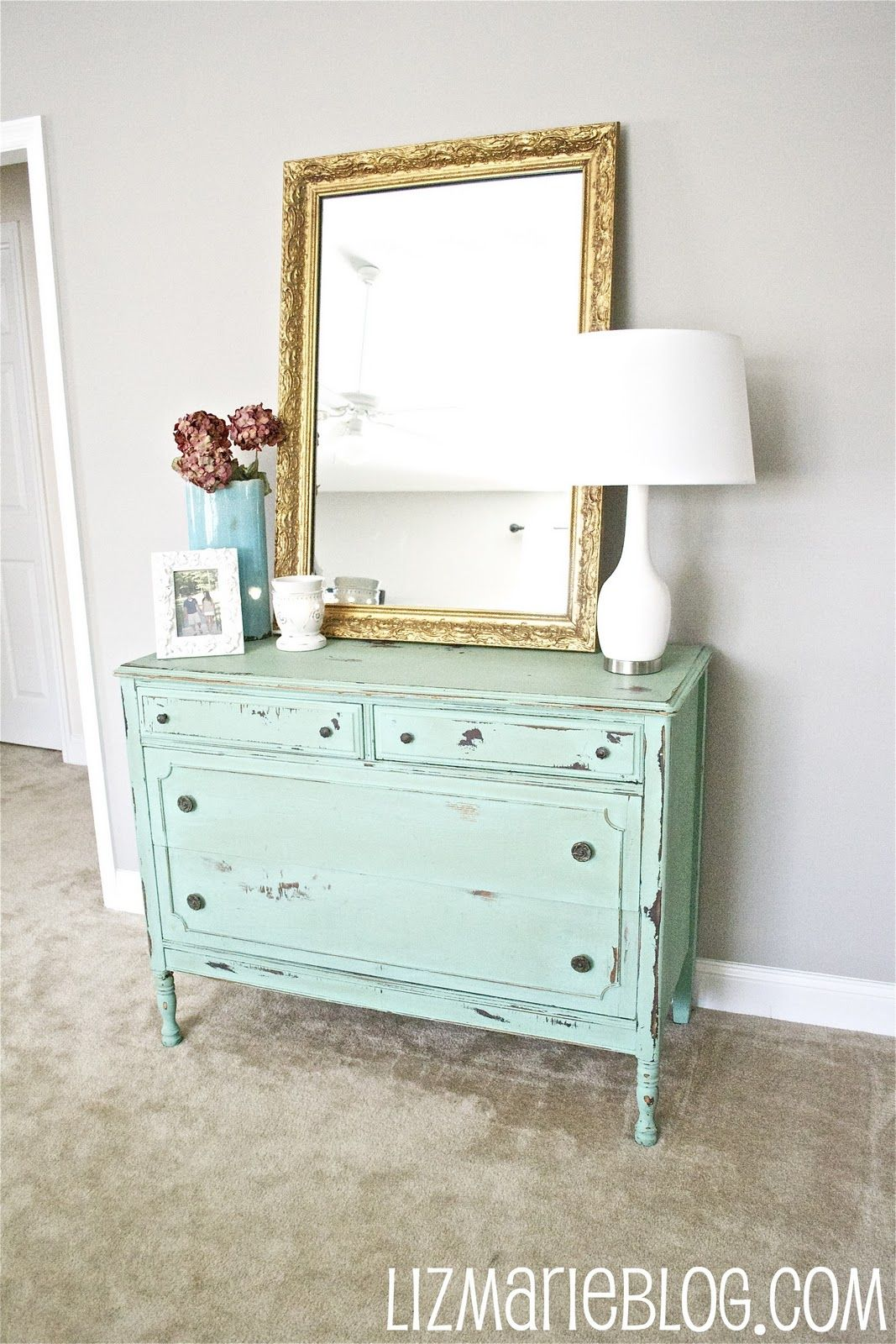 short dresser/large mirror/lamp/vase combo for the white dresser in ...