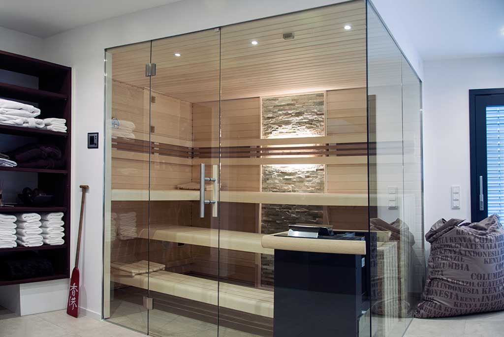 glasfront-sauna, luxuriös, design, transparent | apart-sauna ... - Sauna Designs Zu Hause