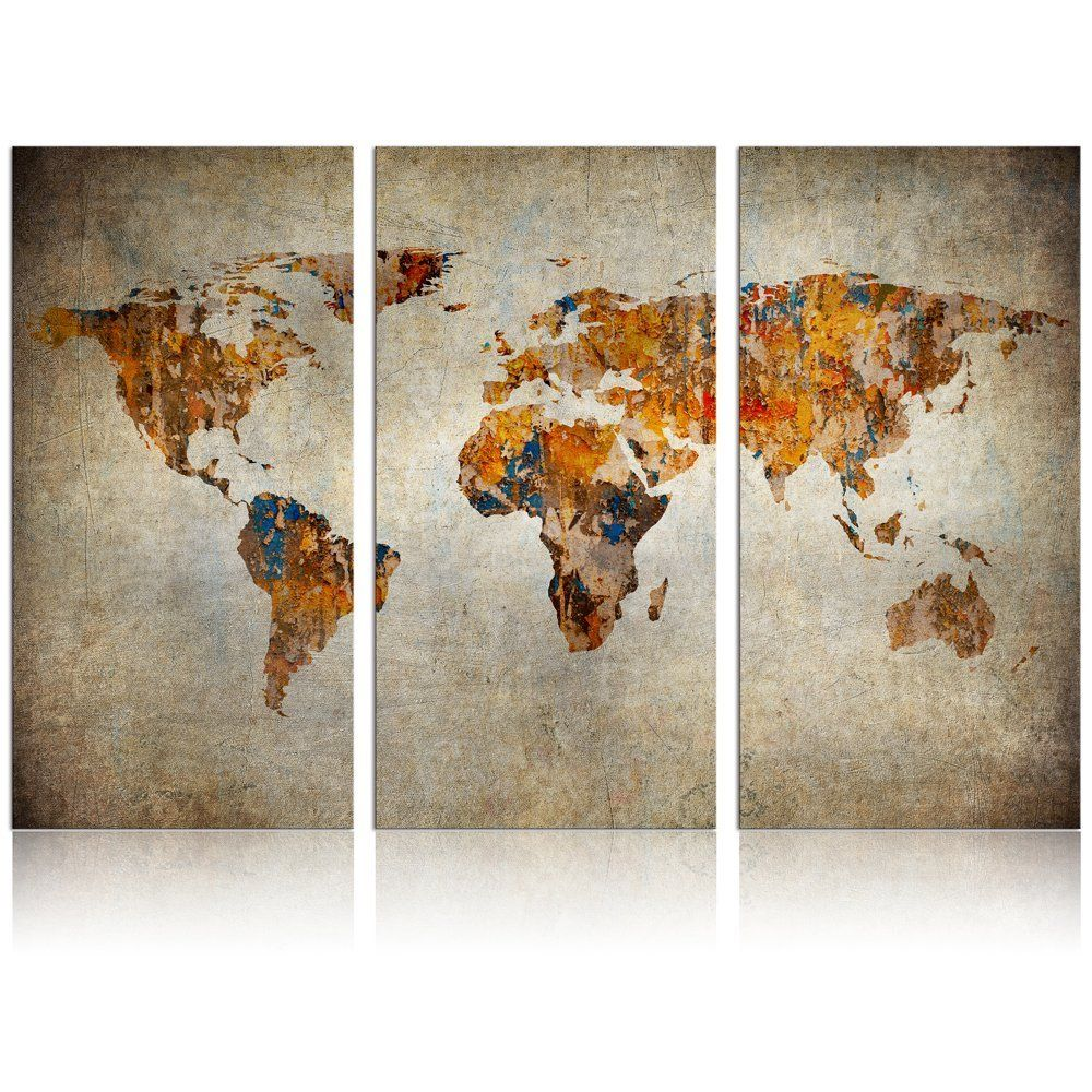 Amazon Com World Map Canvas Prints Home Wall Decor Retro Map Of World Framed And Stretched Map Wall Art Retro Posters Map Wall Art Poster Prints Retro Map