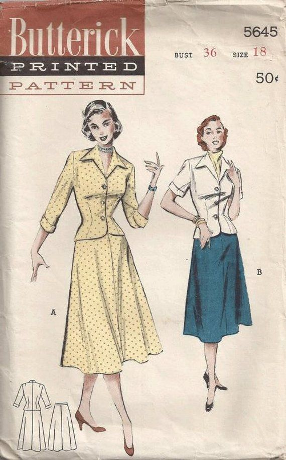 07d3f05de8 On Sale Vintage 50s Full Figure Skirt and Jacket Butterick Sewing Pattern  5645 Flared Skirt Fitted J