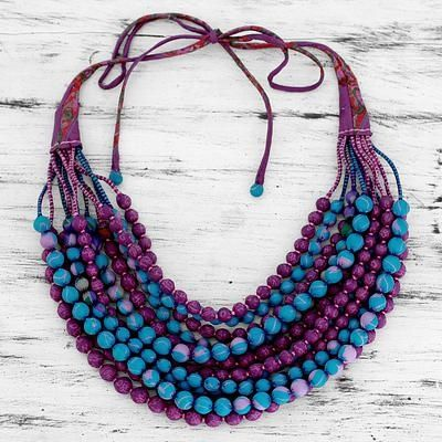 Blue and Purple Recycled Silk Sari Beaded Necklace - Vintage Wine | NOVICA